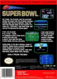 Box back cover for Tecmo Super Bowl on the Nintendo NES.