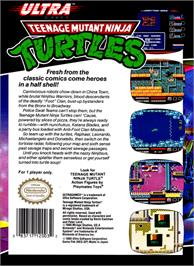 Box back cover for Teenage Mutant Ninja Turtles: Tournament Fighters on the Nintendo NES.
