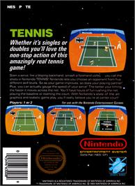Box back cover for Tennis on the Nintendo NES.