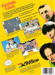 Box back cover for Three Stooges on the Nintendo NES.