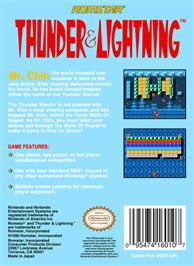 Box back cover for Thunder & Lightning on the Nintendo NES.