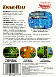 Box back cover for Tiger Heli on the Nintendo NES.