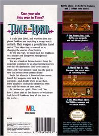 Box back cover for Time Lord on the Nintendo NES.
