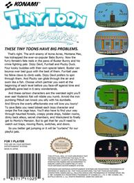 Box back cover for Tiny Toon Adventures on the Nintendo NES.