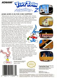 Box back cover for Tiny Toon Adventures 2: Trouble in Wackyland on the Nintendo NES.