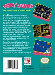 Box back cover for Tom & Jerry: The Ultimate Game of Cat and Mouse on the Nintendo NES.