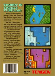 Box back cover for Toobin' on the Nintendo NES.