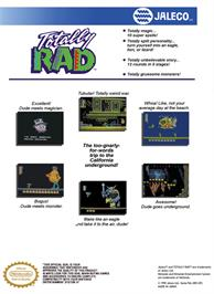 Box back cover for Totally Rad on the Nintendo NES.
