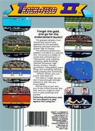 Box back cover for Track & Field 2 on the Nintendo NES.