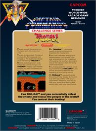 Box back cover for Trojan on the Nintendo NES.