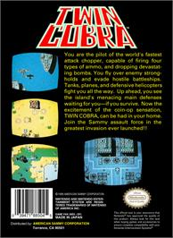 Box back cover for Twin Cobra on the Nintendo NES.