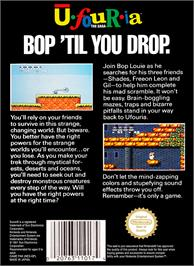 Box back cover for Ufouria: The Saga on the Nintendo NES.