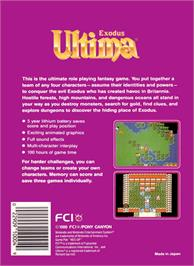 Box back cover for Ultima III: Exodus on the Nintendo NES.