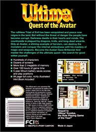 Box back cover for Ultima IV: Quest of the Avatar on the Nintendo NES.