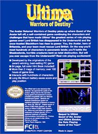 Box back cover for Ultima V: Warriors of Destiny on the Nintendo NES.