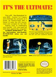 Box back cover for Ultimate Basketball on the Nintendo NES.