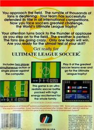 Box back cover for Ultimate League Soccer on the Nintendo NES.