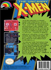 Box back cover for Uncanny X-Men on the Nintendo NES.