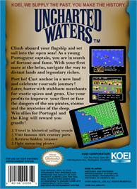 Box back cover for Uncharted Waters on the Nintendo NES.