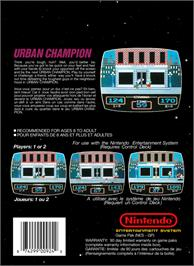 Box back cover for Urban Champion on the Nintendo NES.