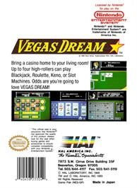 Box back cover for Vegas Dream on the Nintendo NES.