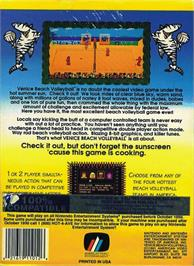 Box back cover for Venice Beach Volleyball on the Nintendo NES.