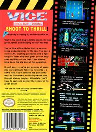 Box back cover for Vice: Project Doom on the Nintendo NES.