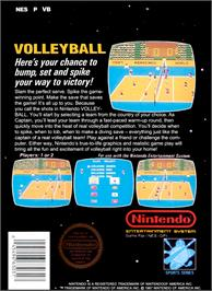 Box back cover for Volley Ball on the Nintendo NES.