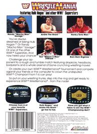 Box back cover for WWF Wrestlemania on the Nintendo NES.
