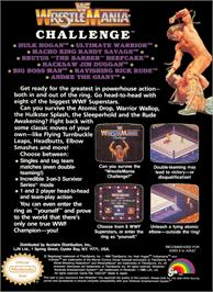 Box back cover for WWF Wrestlemania Challenge on the Nintendo NES.