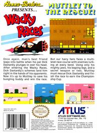 Box back cover for Wacky Races on the Nintendo NES.