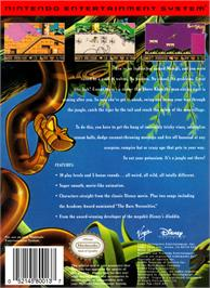 Box back cover for Walt Disney's The Jungle Book on the Nintendo NES.