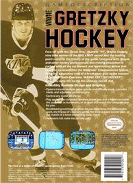 Box back cover for Wayne Gretzky Hockey on the Nintendo NES.
