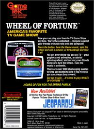 Box back cover for Wheel Of Fortune on the Nintendo NES.