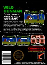 Box back cover for Wild Gunman on the Nintendo NES.