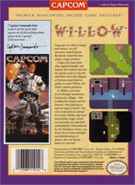 Box back cover for Willow on the Nintendo NES.