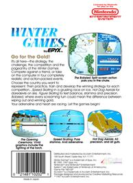 Box back cover for Winter Games on the Nintendo NES.