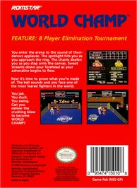 Box back cover for World Champ:  Super Boxing Great Fight on the Nintendo NES.