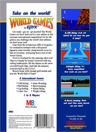 Box back cover for World Games on the Nintendo NES.
