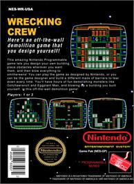 Box back cover for Wrecking Crew on the Nintendo NES.
