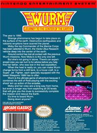 Box back cover for Wurm: Journey to the Center of the Earth on the Nintendo NES.