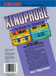 Box back cover for Xenophobe on the Nintendo NES.