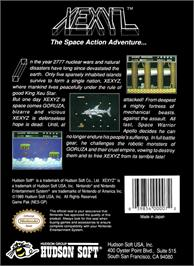 Box back cover for Xexyz on the Nintendo NES.