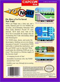 Box back cover for Yo! Noid on the Nintendo NES.