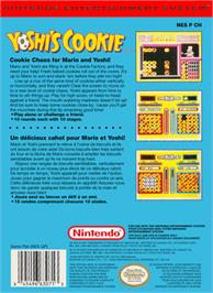 Box back cover for Yoshi's Cookie on the Nintendo NES.