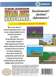 Box back cover for Young Indiana Jones Chronicles on the Nintendo NES.