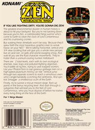 Box back cover for Zen: Intergalactic Ninja on the Nintendo NES.