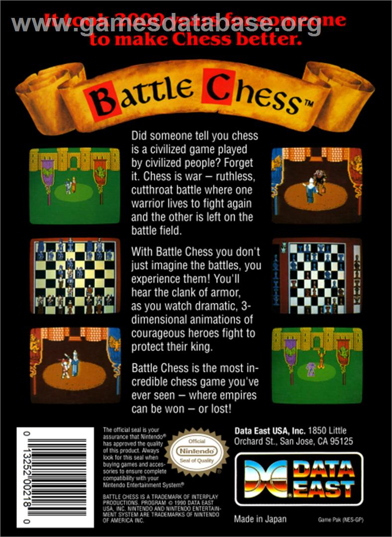 Battle Chess - Nintendo NES - Artwork - Box Back