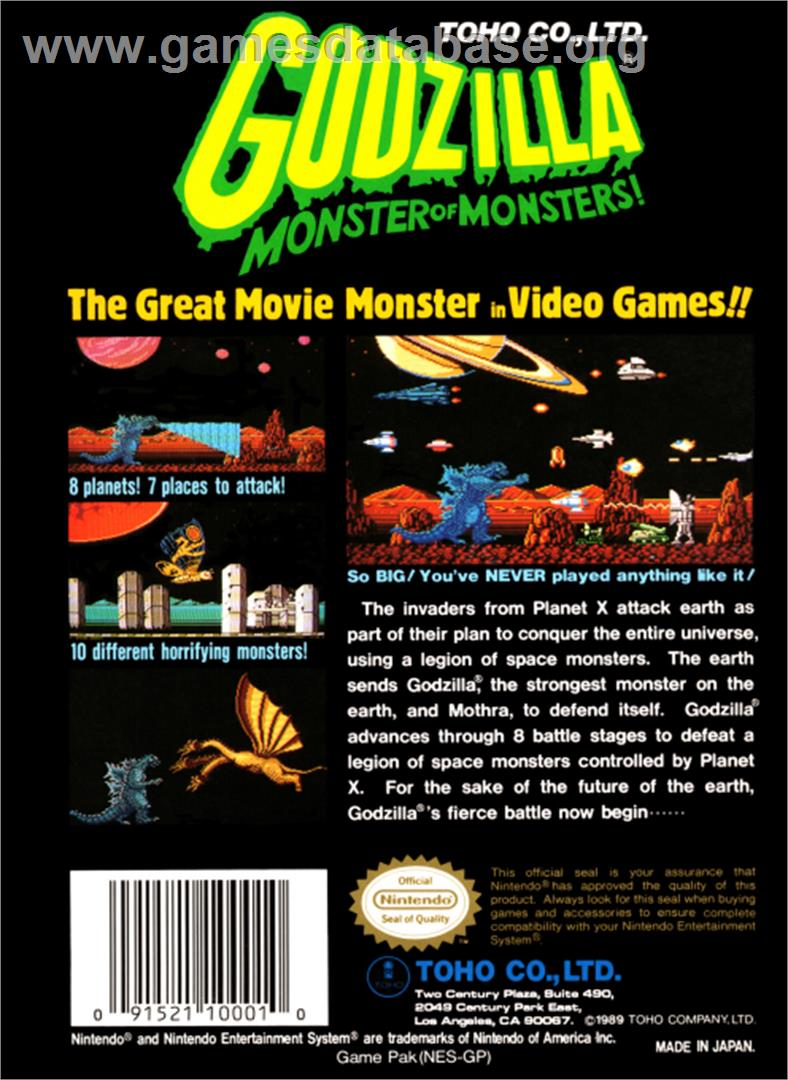 Godzilla: Monster of Monsters - Nintendo NES - Artwork - Box Back
