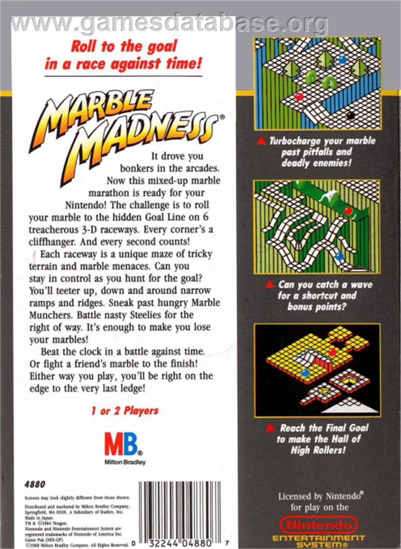 Marble Madness - Nintendo NES - Artwork - Box Back